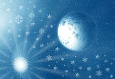 Moon and snowflakes Royalty Free Stock Image