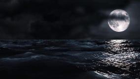 Moon som skiner i natten ensamt fartyg waves för bakgrundshavssky Mäktig sikt Perfekta bakgrunder för en resa eller en meditation vektor illustrationer