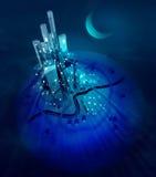 Moon sopra gli indicatori luminosi moderni futuristici della città alla notte Fotografia Stock Libera da Diritti