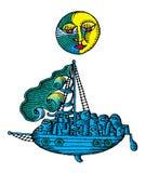 Moon sopra la nave di navigazione a colore inciso notte Fotografie Stock