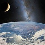 Moon sopra la terra, sui precedenti della Via Lattea Elementi di questa immagine ammobiliati dalla NASA http://www NASA governo Immagine Stock