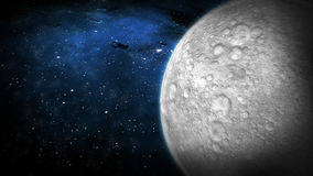 The Moon and Space. The moon in space rotating. 1080 HD. Texture map created from USGS (www.usgs.gov) resources. Mapped, modeled and rendered by artist. Final stock video