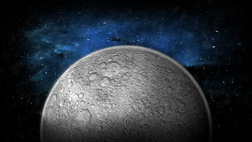 The Moon and Space. The moon in space rotating. 1080 HD. Texture map created from USGS (www.usgs.gov) resources. Mapped, modeled and rendered by digital artist stock footage