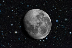 Moon in space. Stars background in cosmos Royalty Free Stock Images