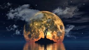 Moon and spooky tree Stock Photos