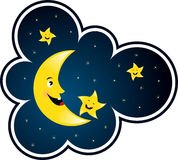 Moon and star. Cartoon moon and star smiling Royalty Free Stock Images