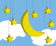Moon and star. Cute yellow moon and star Stock Photos