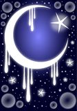 Moon and star on colorful blue background Stock Images