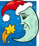 Moon and star christmas cartoon Stock Images