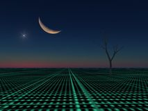 Moon and Star on City Grid Stock Photography