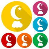 Moon, star and cloud icons set with long shadow. Vector icon Vector Illustration