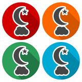 Moon, star and cloud icons set with long shadow. Vector icon Stock Illustration