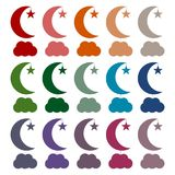 Moon, star and cloud icons set. Vector icon Royalty Free Illustration