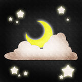 Moon star and cloud night scene Stock Images