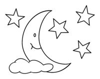 Moon with star and cloud. Outline vector illustration. Coloring book for children. Moon with star and cloud. Outline vector illustration. Coloring book page for vector illustration