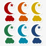 Moon, star and cloud sticker set. Vector icon Royalty Free Illustration