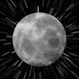 Moon Star Field. Illustration of the moon over a star field background with high speed effects to show movement Royalty Free Stock Photo
