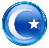 Moon and star icon blue Stock Images