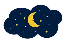 Moon and Star at Night Illustration Stock Photos
