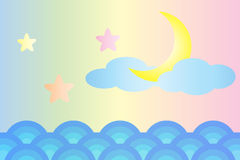 Moon and star over the sea (Pastel color style) Royalty Free Stock Image