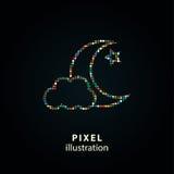 Moon star - pixel illustration. Royalty Free Stock Photography
