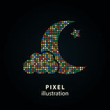 Moon star - pixel illustration. Royalty Free Stock Photo
