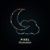 Moon star - pixel illustration. Royalty Free Stock Image