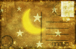 Moon and star postcard Royalty Free Stock Photography