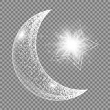 The moon and the star. Ramadan kareem pattern. Twinkle background with abstract light, a crescent and star Stock Photos