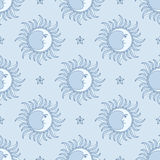Moon and Star. Seamless pattern. Royalty Free Stock Photo