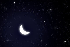 Moon and star in sky Royalty Free Stock Images
