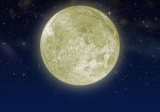 The moon in the star sky Royalty Free Stock Images