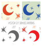 Moon star sky seamless vector Royalty Free Stock Images