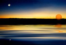 Moon star sun. Moon rise before sun goes down with stars Royalty Free Stock Photo