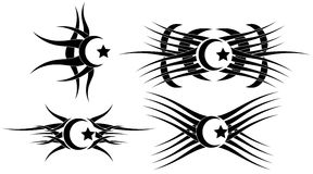 Moon and star tattoos set isolated Stock Image