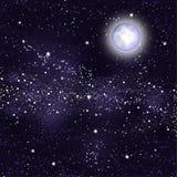 Moon Starry night sky. Background starry sky milky way moon Royalty Free Stock Photography