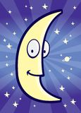 Moon and Stars. A yellow moon in the night sky Stock Images