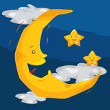 Moon and stars. Illustration of skyscape moon and stars Stock Image