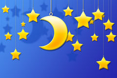 Moon & Stars Royalty Free Stock Photos