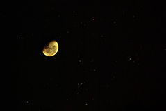 Moon and Stars. Moon and bright stars photographed with Pentax K10D Stock Photos