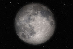 Moon and stars. Very detailed full moon on a stars background Stock Image