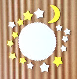 Moon and stars abstract paper cutout border Stock Image