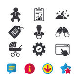 Moon and stars. Baby infant icon. Buggy, dummy. Royalty Free Stock Images