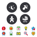 Moon and stars. Baby infant icon. Buggy, dummy. Stock Photo