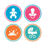 Moon and stars. Baby infant icon. Buggy, dummy. Royalty Free Stock Photos