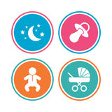 Moon and stars. Baby infant icon. Buggy, dummy. Royalty Free Stock Image