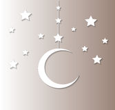 Moon and stars background. Gray color Stock Photos
