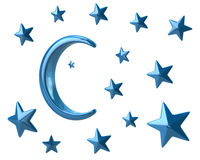 Moon and stars. Blue moon and stars 3d illustration on white background Stock Photos