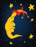 The moon and stars. Cartoon. Celebratory fairy tale. The moon and stars Stock Images