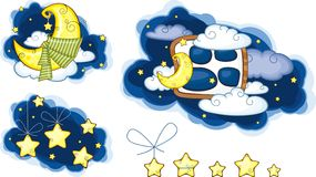 Moon Stars And Clouds. Set vector illustration